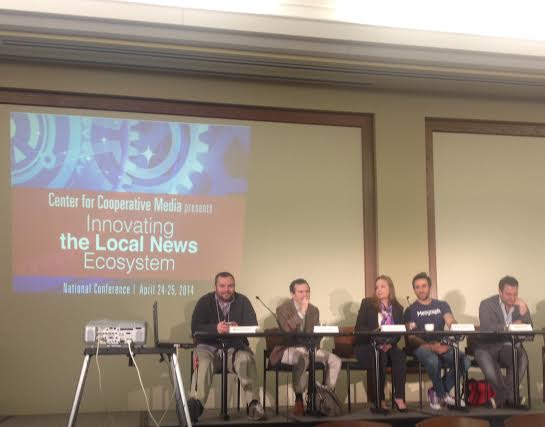 """The """"Innovating The Local News Ecosystem"""" panel on April 25, 2014 at Montclair State University."""