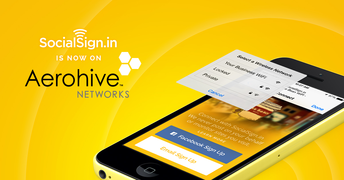 SocialSign.in Aerohive WiFi