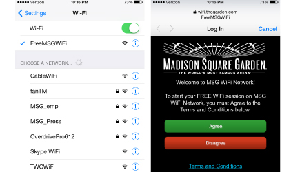 Madison Square Garden Free Guest WiFi